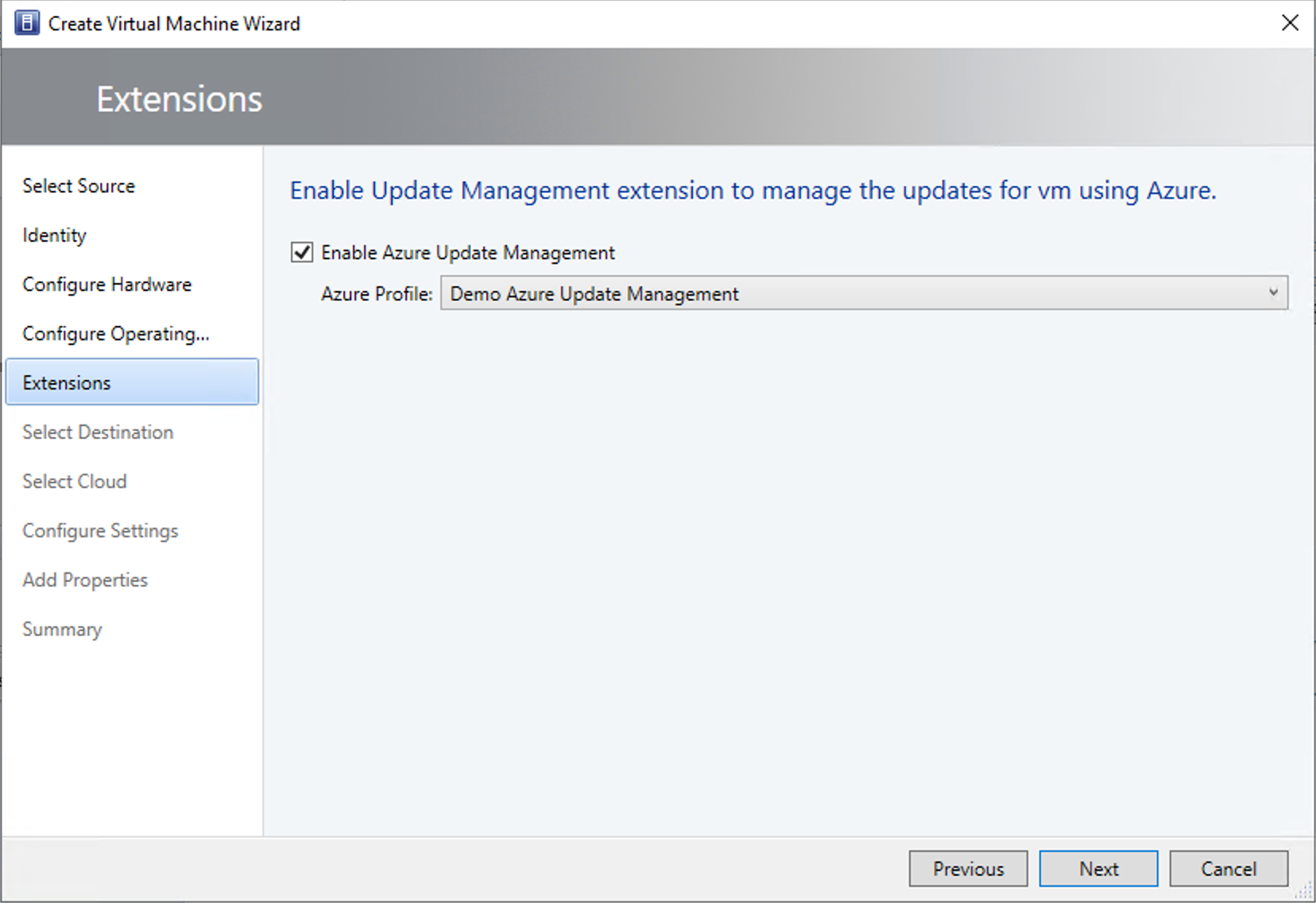 Selecting the Azure Update Management profile at VM deployment