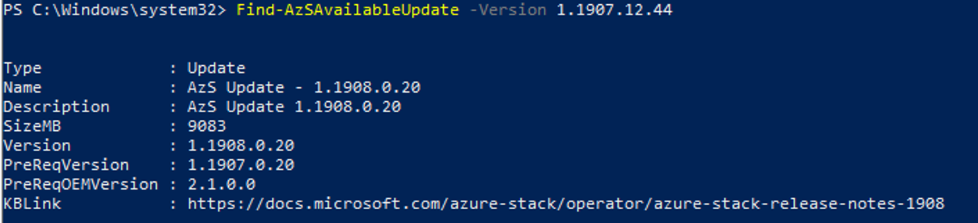 Shows Find-AzSAvailableUpdate Example output